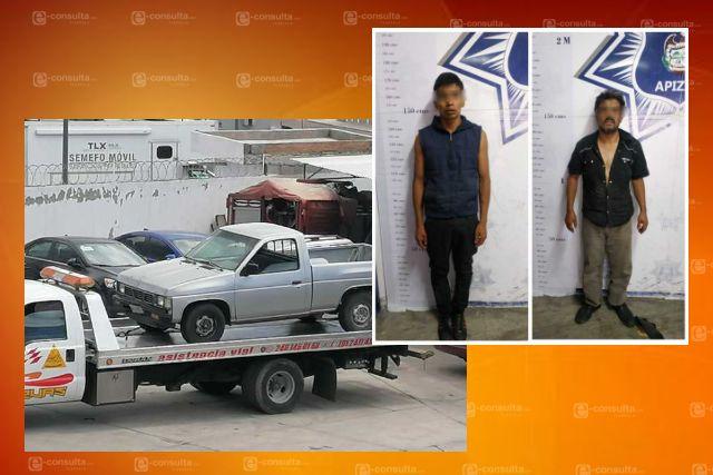 En flagrancia, aseguran a dos sujetos de Ixtapaluca por robo de auto en Apizaco
