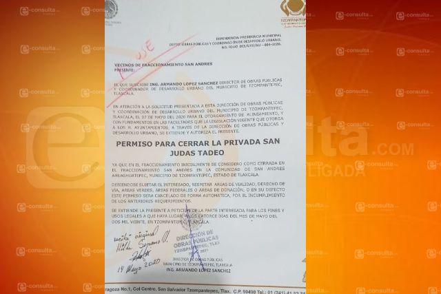 Gobierno de Tzompantepec Denegó Solicitud de Cierre de Calle
