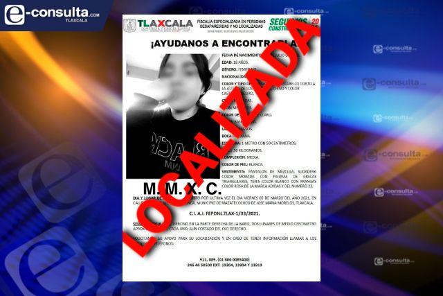 PGJE localiza a mujer reportada como extraviada en Mazatecochco