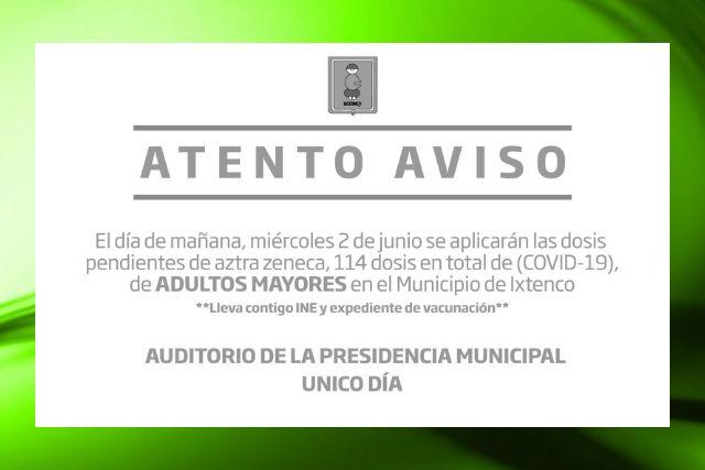 Mañana único día para aplicación de segunda dosis de vacuna Aztra Zeneca en Ixtenco