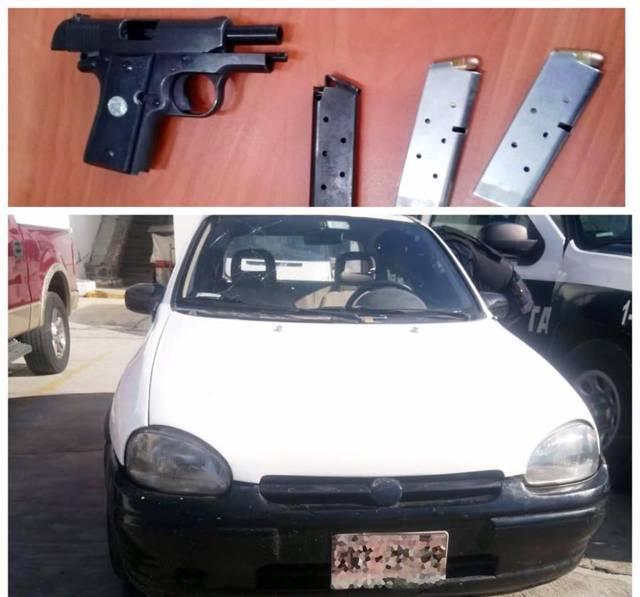 La CES asegura a cuatro personas, un arma de fuego y un vehículo con reporte de robo