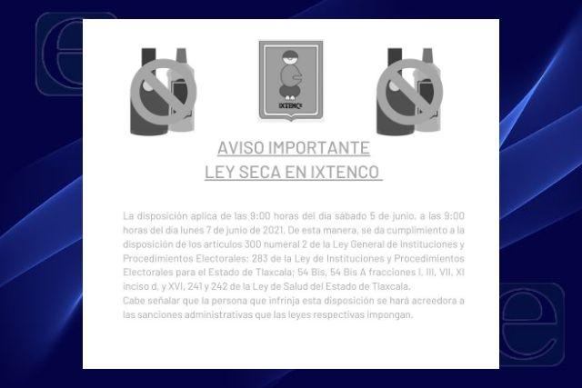 Habrá Ley seca en el municipio de Ixtenco ante el proceso electoral