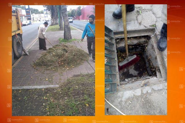 Refuerza ayuntamiento de Tlaxcala limpieza de alcantarillas y coladeras