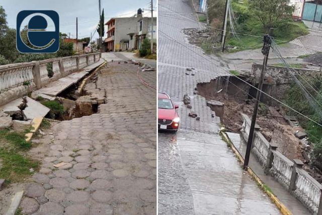 Colapsa puente en Tetlanohcan; presidente culpa a los vecinos