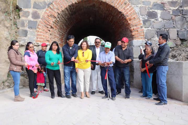 Alcalde de Papalotla entrega acondicionamiento de canal pluvial
