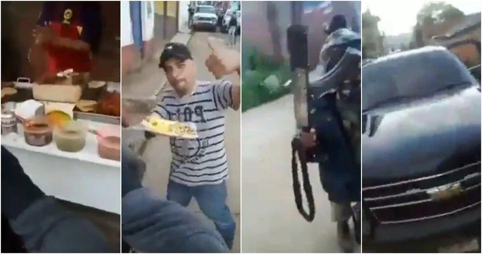 A plena luz del día sicarios en Michoacan salen armados a comprar sus tacos