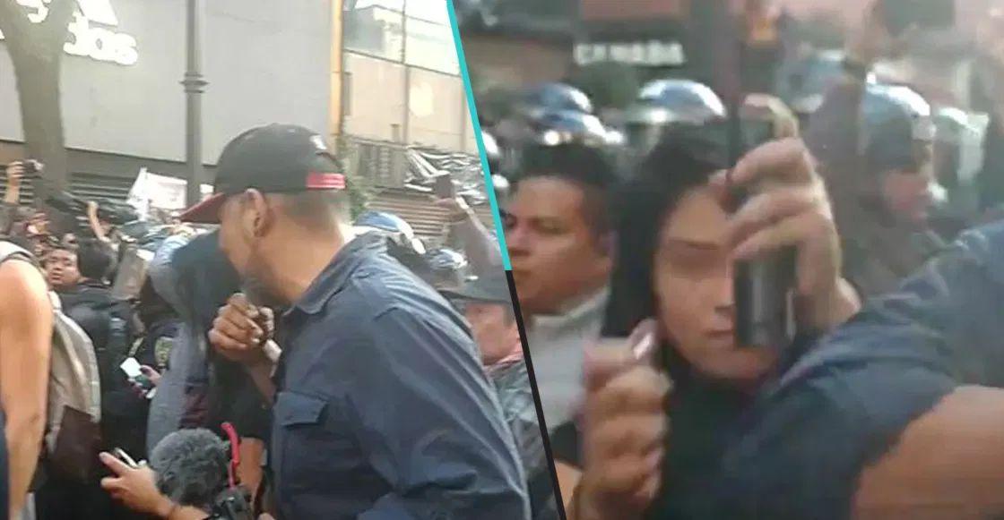 Una mujer es captada intentando prender fuego a un reportero en la CDMX