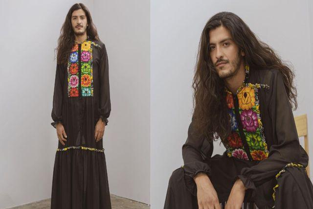 Crean vestidos oaxaqueños con bordados para hombres