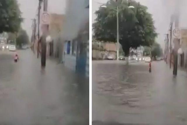 Captan a pequeño jalisciense nadando en plena inundación
