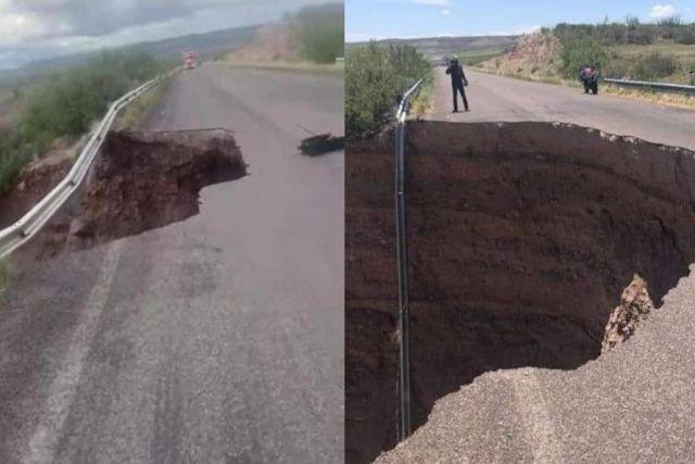 Aparece en carretera de Chihuahua enorme socavón de 20 metros de diámetro