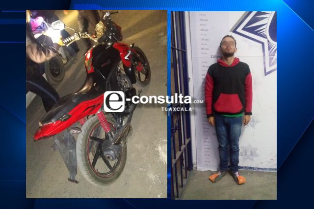 Hombre en motocicleta sin placas portaba arma de fuego, en Apizaco