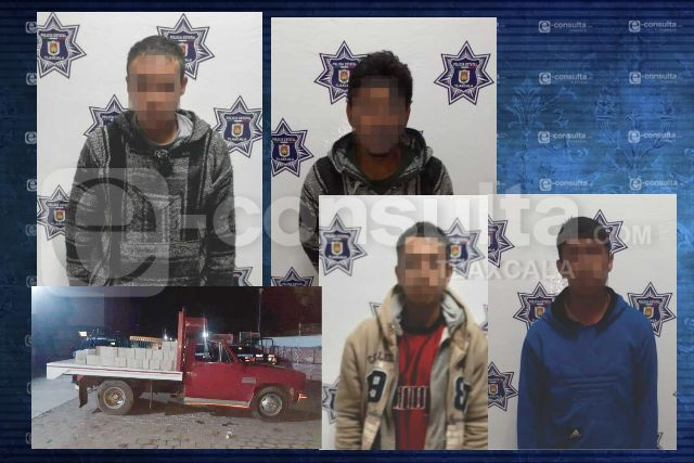 Detienen en Tzompantepec a cuatro ladrones de camión de construcción