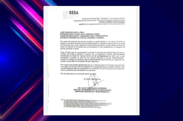 SESA pide a empresa que saque urgentemente sus equipos de los hospitales