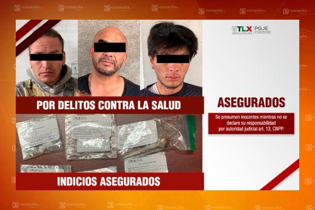 En Apizaco asegura PGJE a tres personas por delitos contra la salud