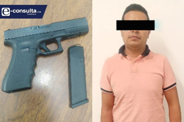 Policía Estatal detiene en Calpulalpan a sujeto con un arma de fuego
