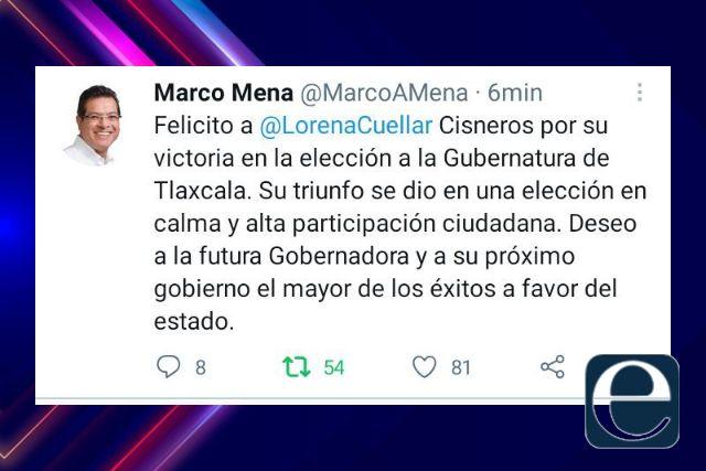 El Gobernador Marco Mena felicita a Lorena Cuéllar por ganar la gubernatura