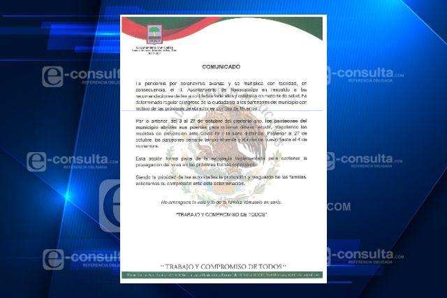 Panteones de Nanacamilpa reabrirán sus puertas del 3 al 27 de Octubre