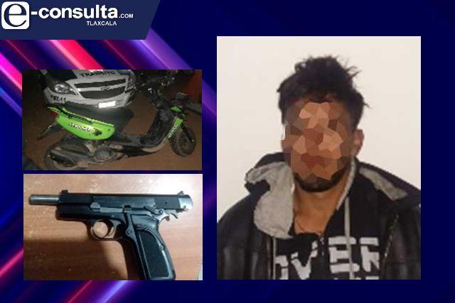 Policía Estatal detiene en Zacatelco a una persona con un arma de fuego