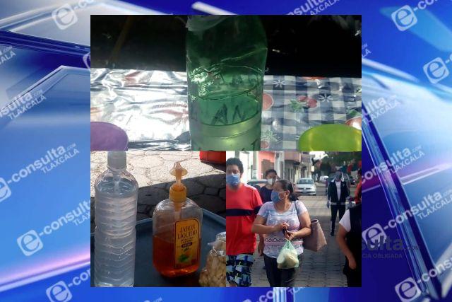 Autoridades de Papalotla implementan filtros sanitarios en tianguis de Panzacola