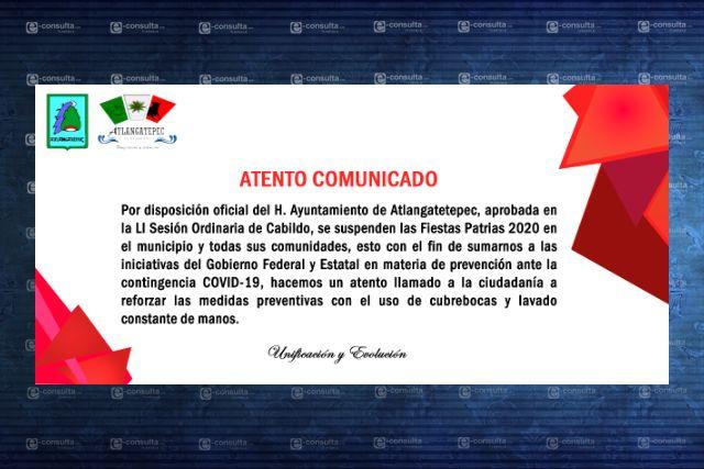 Cabildo de Atlangatepec suspende la celebración de fiestas patrias