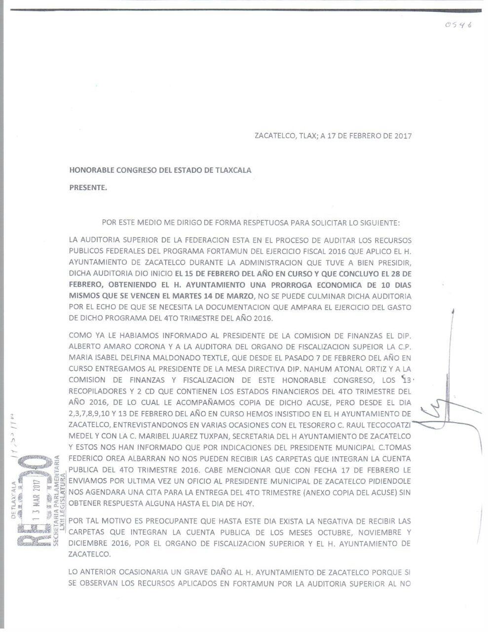Contubernio del OFS y alcalde de Zacatelco