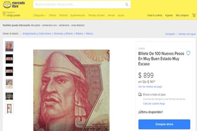 El billete de 100 pesos donde aparece Nezahualcóyotl ahora costará 900 pesos
