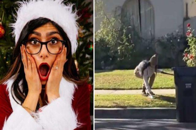 Critican a Mia Khalifa por recoger excremento de perro con un cubrebocas y luego ponérselo