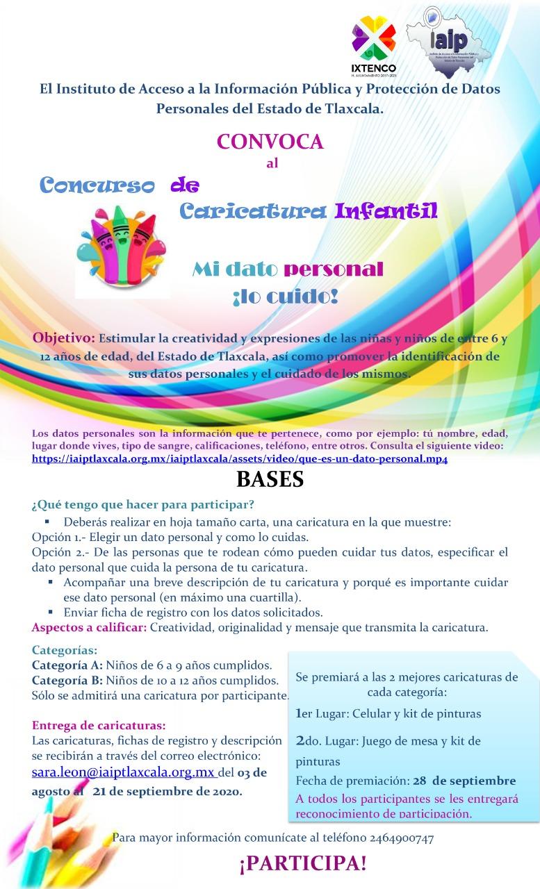 Convoca IAIP e Ixtenco a concurso de caricatura MI DATO PERSONAL LO CUIDO