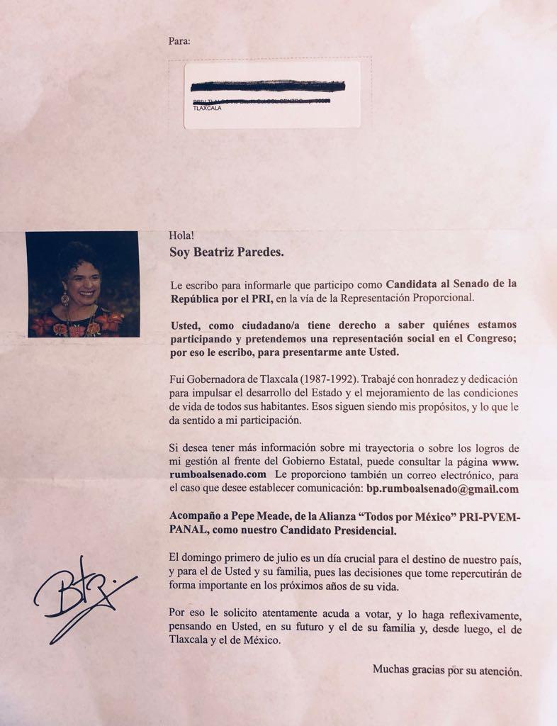 En su desesperación el PRI manda cartas de doña Bety