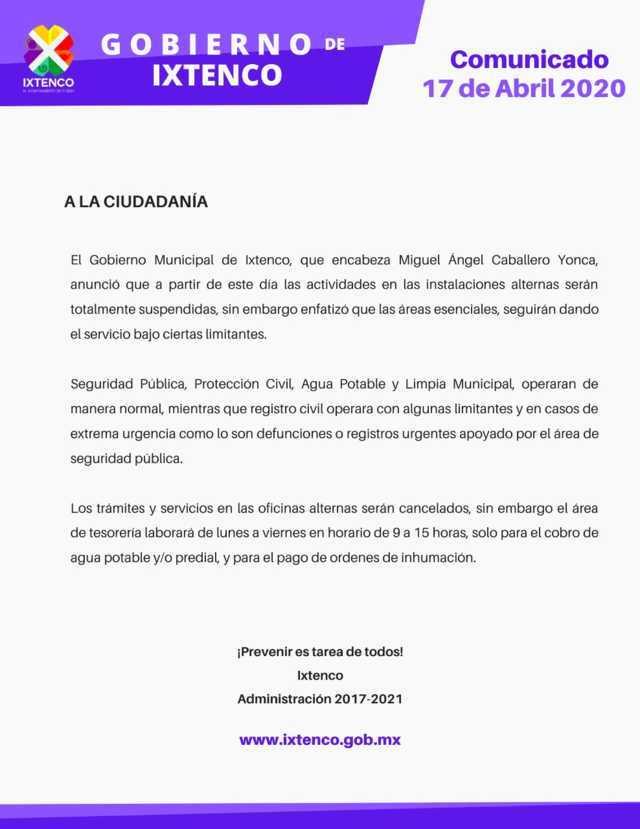Ayuntamiento de Ixtenco aplaza inicio de actividades normales hasta el 1 de junio