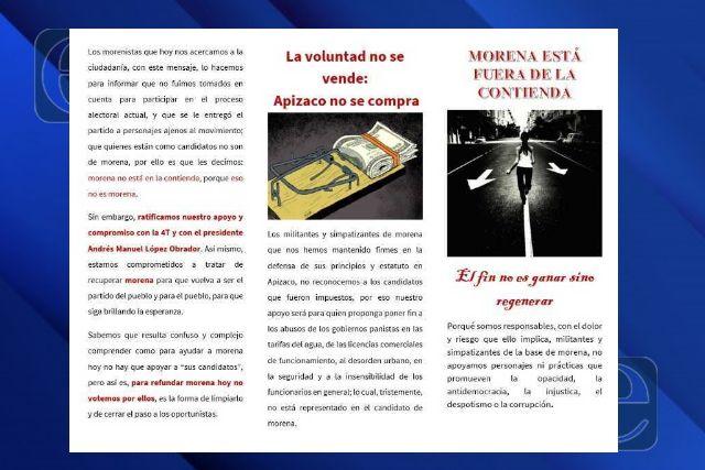 Piden en Apizaco no votar por lo candidatos de Morena para recuperar el partido