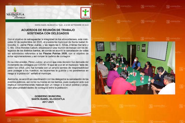 Cancelan eventos conmemorativos a las fiestas patrias en Xiloxoxtla