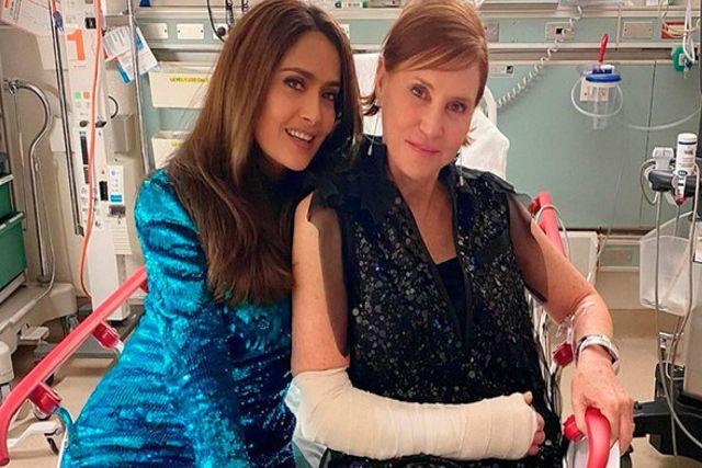 Captan a Salma Hayek en el hospital durante la noche de los Oscars 2020
