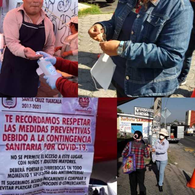 Resguardan la salud de habitantes en tianguis sabatino en San Miguel Contla