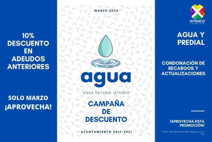 Anuncia Ayuntamiento de Ixtenco nueva campaña de descuento en agua potable y predial