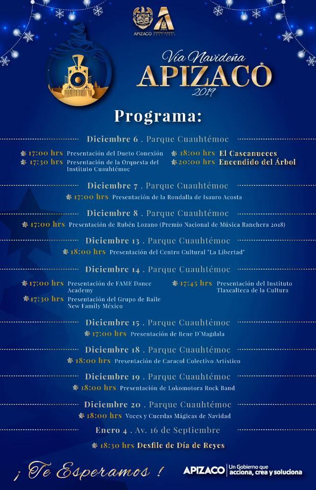 Gobierno de Apizaco da a conocer cartel para el Encendido del Árbol de este viernes