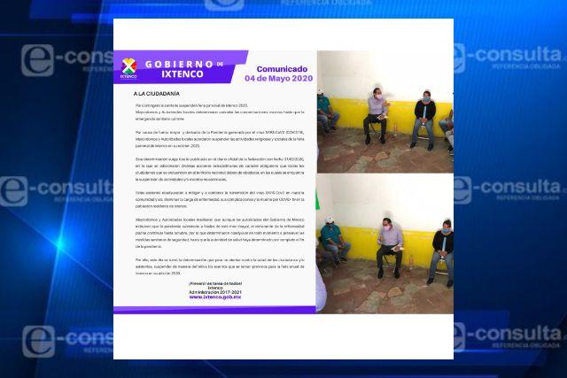 Por contingencia sanitaria suspenden feria patronal de Ixtenco 2020