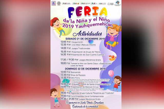 Hoy Yauhquemehcan será sede de la Feria de la Niña y el Niño
