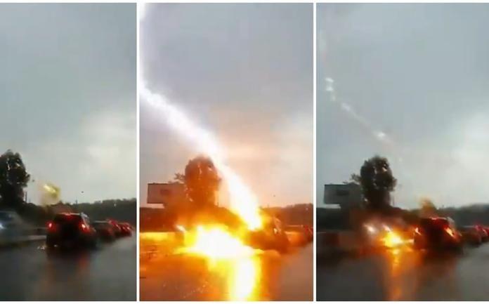 Cae en Rusia 2 veces un rayo sobre el mismo vehículo