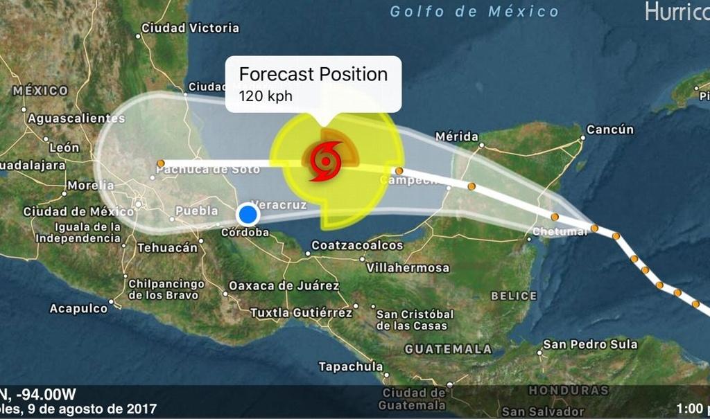 Franklin se intensificó a huracán categoría 1 frente a las costas de Veracruz