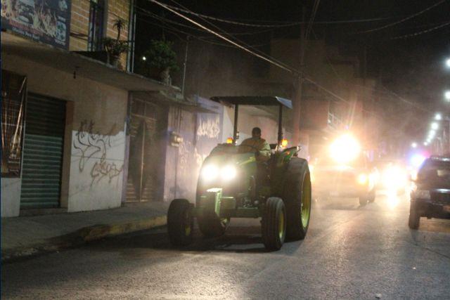 Llevan a cabo jornada de sanitización en diferentes calles de San Pablo del Monte