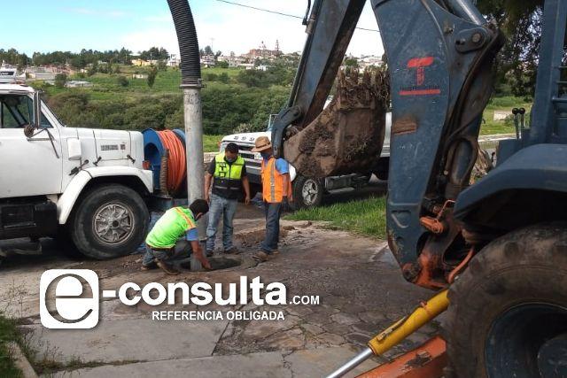 Mantienen trabajos de habilitación de drenaje en Tecopilco