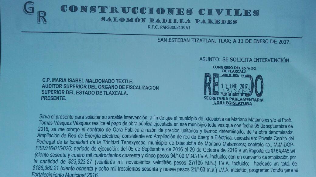 Empresa exige pago a Tomás Vásquez por obra pública