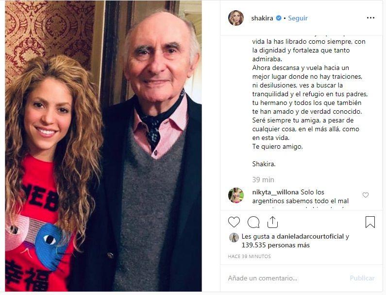 Shakira dedica tierno mensaje al padre de su ex