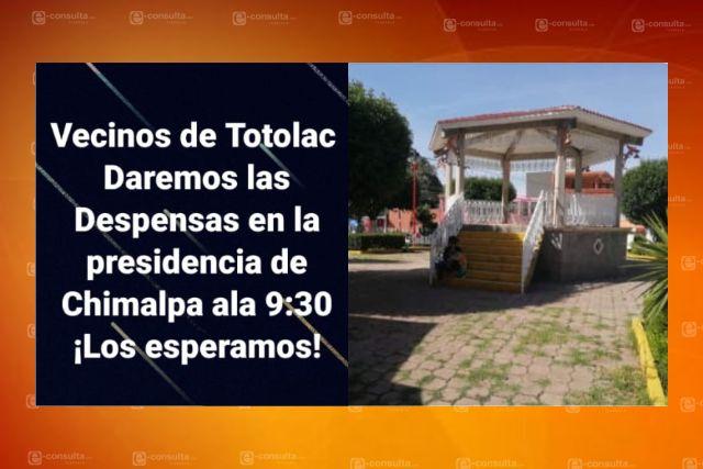 Incitan a la gente a salir de sus casas para recibir apoyos falsos en Totolac