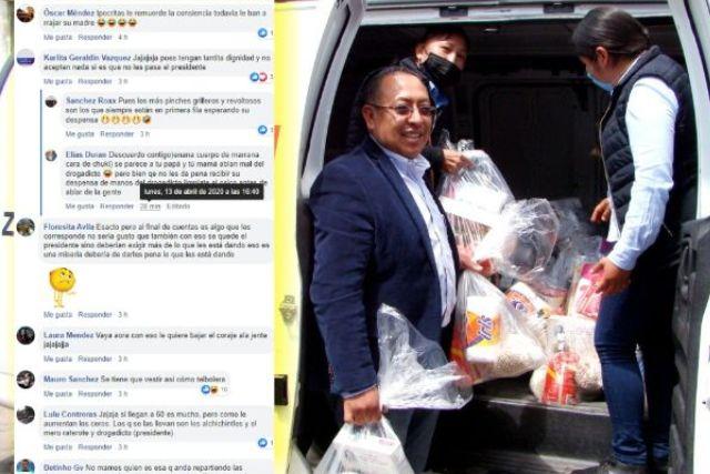 Edil teibolero de Zitlaltepec hace su obra de caridad y se mofan