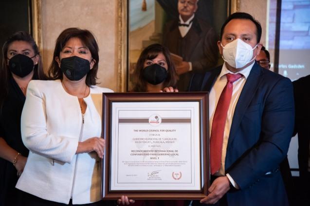 Otorgan Certificación de Calidad ISO 18091 al municipio de Tlaxcala