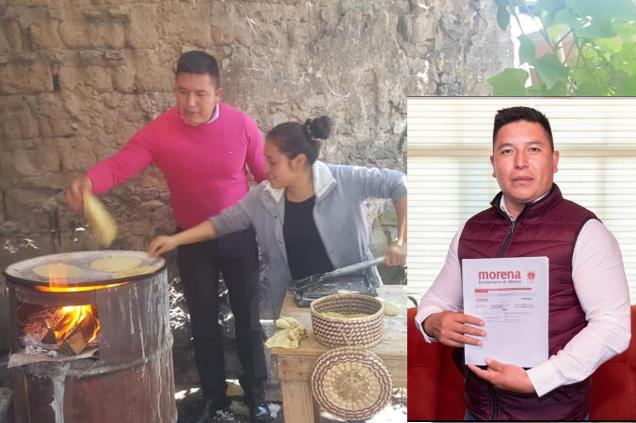 Político chapulín se pone hacer tortillas para que vean que esta con el pueblo