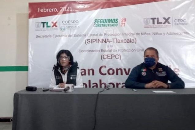 Firman convenio de colaboración Sipinna-Tlaxcala y Protección Civil
