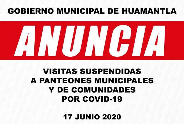 Permanecerán cerrados en Huamantla panteones municipales por COVID-19